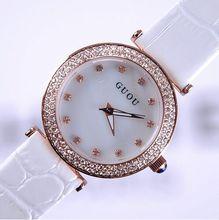 GUOU Wrist watches Quartz Watches Waterproof Women's Watches Genuine Leather Sunray hour Diamond White-Collar montre femme watch
