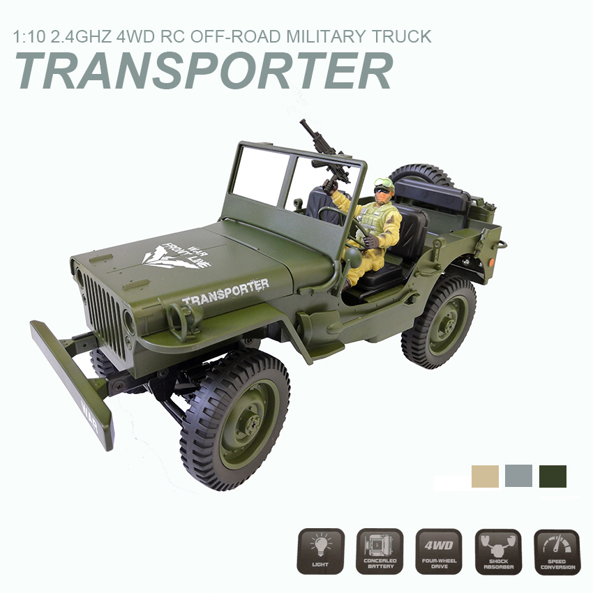 C606 1:10 RC Car 2.4G 4WD Convertible Remote Control Jeep Four-Wheel Drive Off-Road Military Climbing Car Toy VS truck B36C606 1:10 RC Car 2.4G 4WD Convertible Remote Control Jeep Four-Wheel Drive Off-Road Military Climbing Car Toy VS truck B36