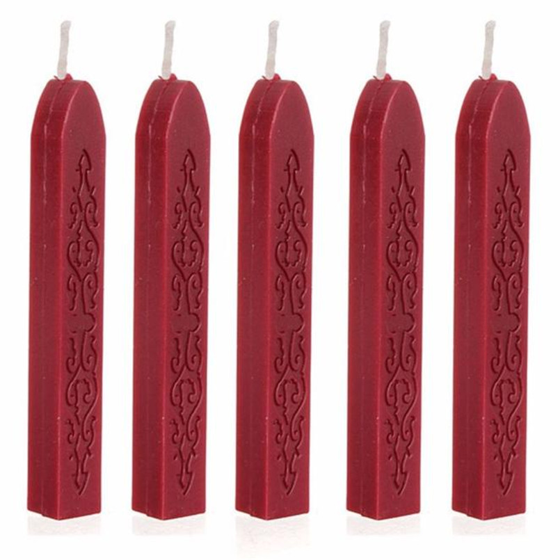 ISHOWTIENDA 5Pcs Wine Red Manuscript Seal Wax Sticks Wicks