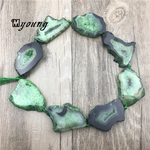 Image 2 - 녹색 마노 석영 druzy geode 자유형 슬래브 너깃 구슬, 원시 보석 스톤 drusy 슬라이스 드릴 된 펜던트 beadsmy1558