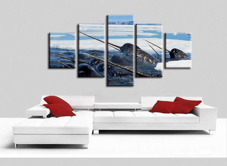5 pieces / set Sea Life Narwhal canvas painting wall art poster print Pictures Living room home Decor wall hanging