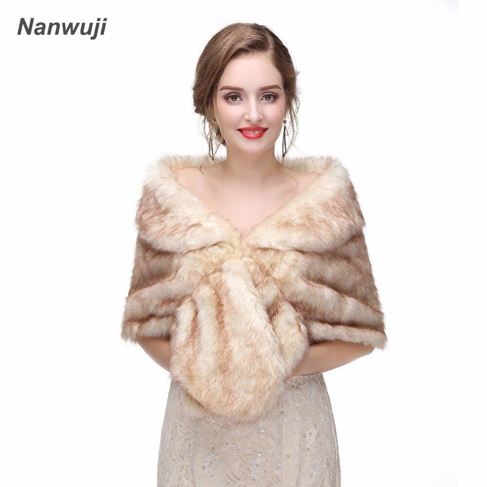 ChampagneBridal Shawl Fur Faux Fur Wrap Evening Dress Bolero Wedding Cape Wedding Shawl Fur Cape 2018 Winter Bridal Cloak Bolero