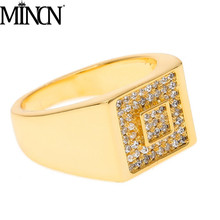 MINCN men ring HIPHOP jewelry square micro zircon exquisite mens and womens hip-hop rings