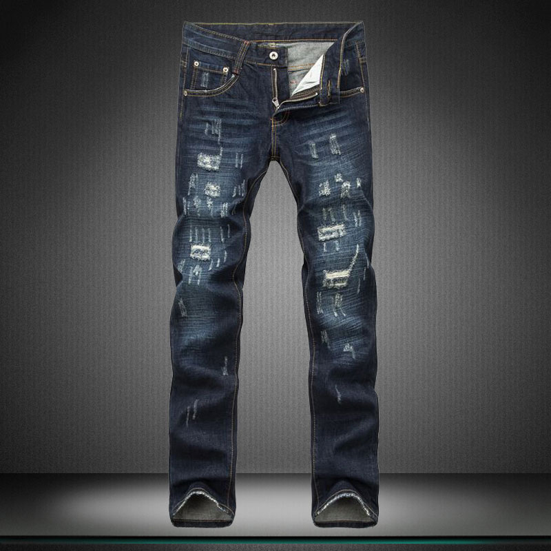 16 Autumn and winter Straight leg leisure Show thin man jeans men hole trousers boy jeans