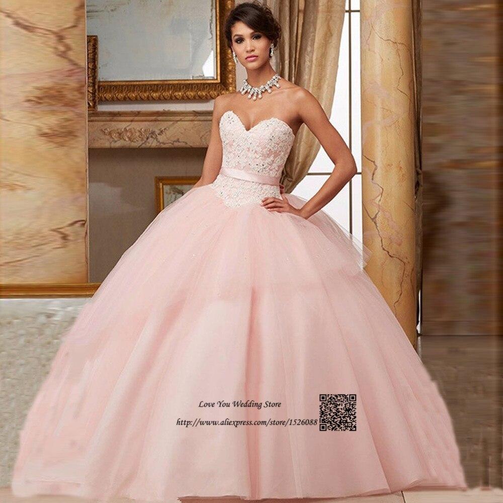 Encaje Barato Vestidos de Quinceañera Rosa Vestido de Debutante Párr ...