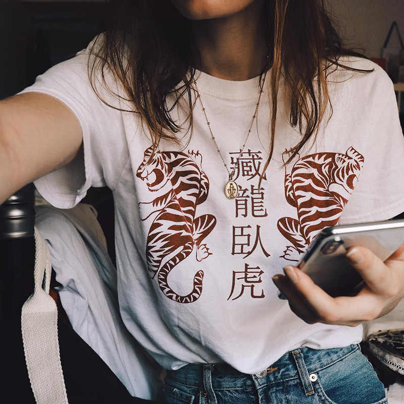 Camiseta de algodão de impressão de tigre de manga curta, camisa de manga curta de dragão escondido