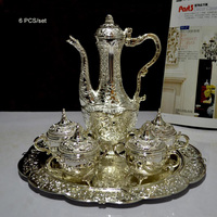 6PCS Set Rare Antique Silver Alloy Metal Wine Set Wine Jar Cup Tray Drinkware Table Decoration