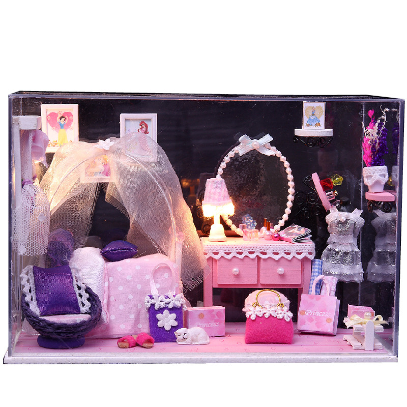 Diy Wooden Dollhouse Mini Glass Dollhouse Miniature Room: Wooden Dollhouse Kit Miniature Pink Princess Room DIY Doll