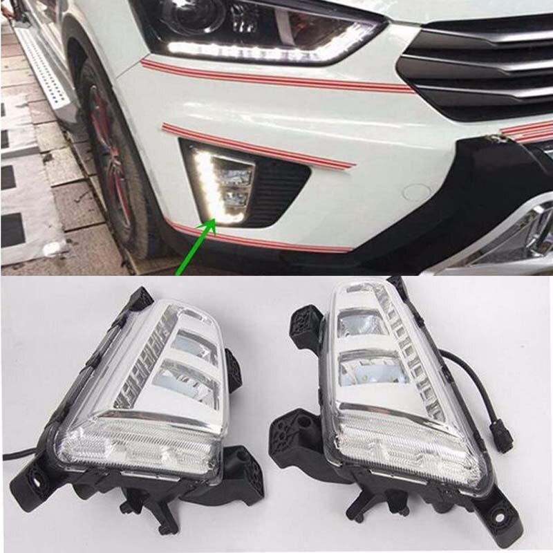 2Pcs White LED Daytime Running Light DRL Front Fog Lamp for Hyundai IX25 2014  2015 2016 free shipping 2015 hyundai ix25 daytime running light fog light led drl fog lamp fit for hyundai ix25