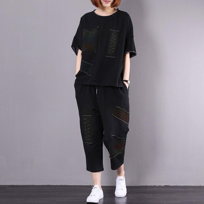 A0e Confortable Z20 Costume Automne Femme T Pocket Shirt Femelle Occasionnel 35 Cou Patches Lâche Hip Coton Pour Hop O Pantalon A0e35 Trou HSrqHRw