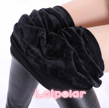 Winter Leather Leggings Women High Waist Warm Black Leggins Punk Push Up Thick Velvet Solid Legging S-2XL Laipelar