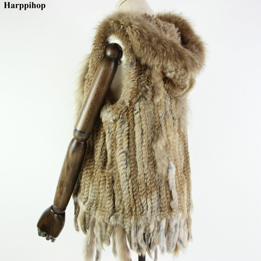 Harppihop Vest Jackets Natural-Fur Women Hooded Long-Coat Knitted Winter New Gilet