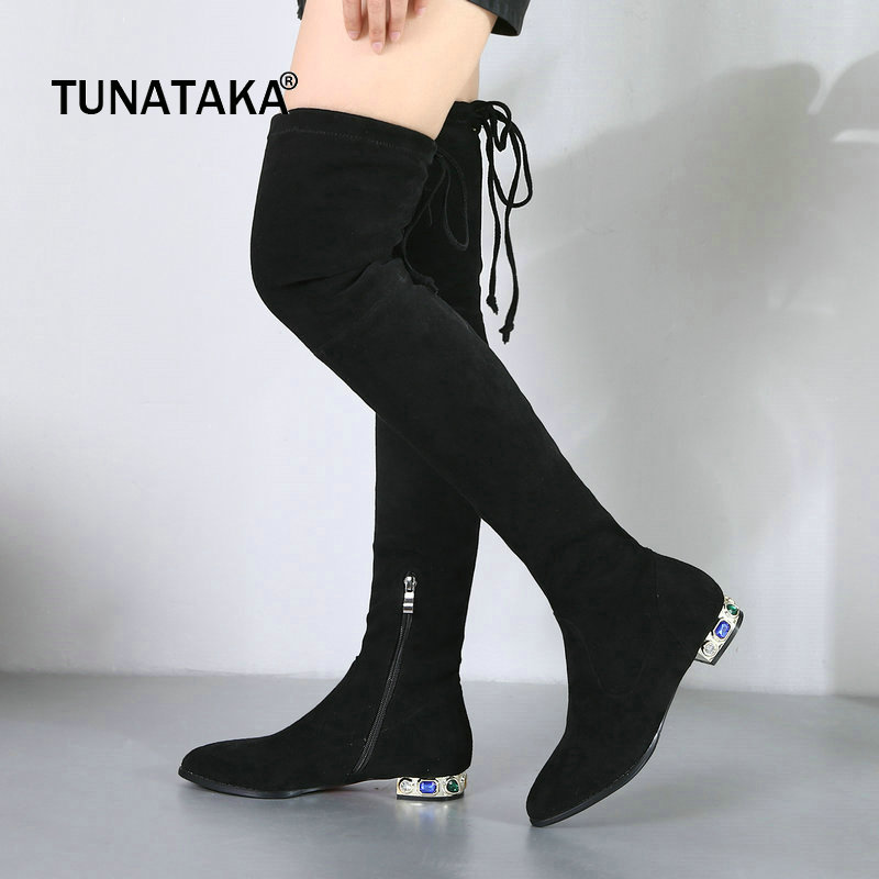 Suede Comfort Low Sqaure Heel Side Zipper Woman Over The Knee Stretch Boots Fashion Pointed Toe Thigh Boots Black Gray