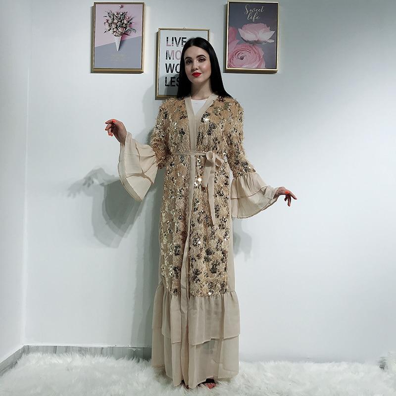Sequin Tassel Kimono Abaya Dubai Kaftan Islam Muslim Hijab Dress Abayas For Women Caftan Marocain Turkish Islamic Clothing Robe
