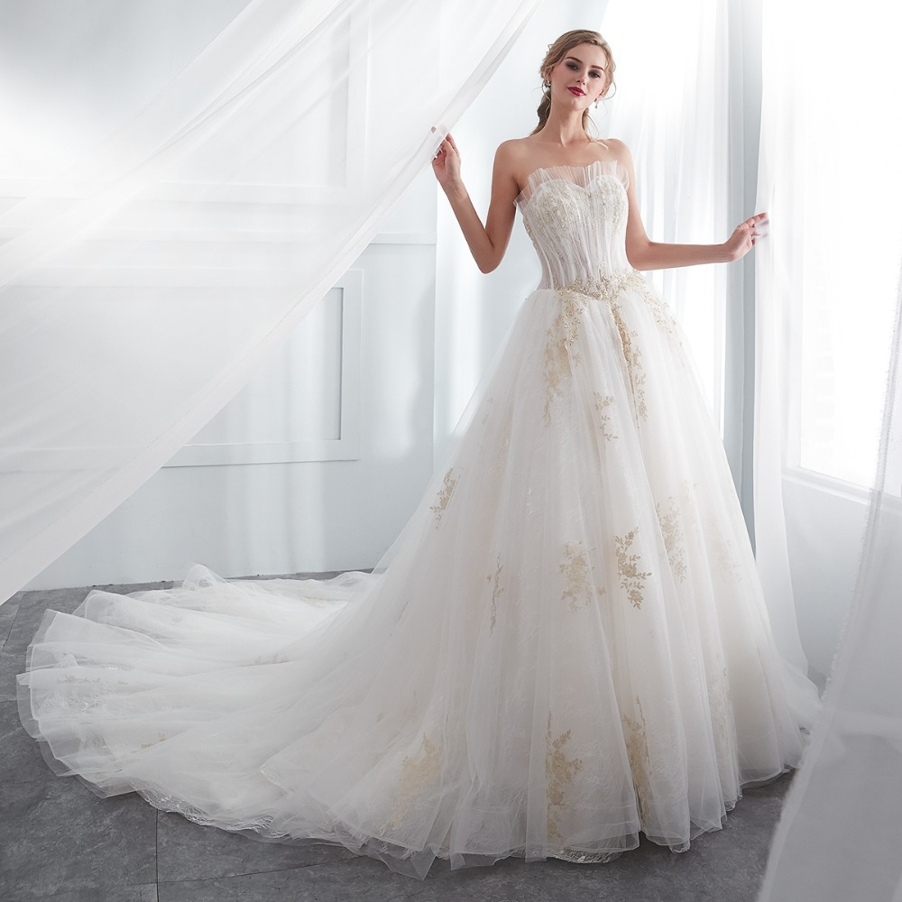 Wedding Gowns For Bride Walk Beside You 2018 Gorgeous Sweetheart Tulle Gold Lace Applique Beads Ball Gown Princess Dress: Gold Gowns Wedding Dresses At Websimilar.org