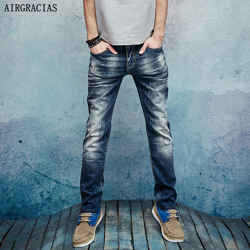 AIRGRACIAS Elasticity Jeans Men Straight Denim Casual Men Long Pants Trousers Top Brand Zipper Fly Ripped Jean Plus Size 28-38 xmy3dwx n ew blue jeans men straight denim jeans trousers plus size 28 38 high quality cotton brand male leisure jean pants