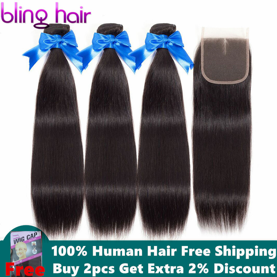 Bling Hair Straight Hair Bundles With Closure 100 Human Hair 3 Bundles With Closure Remy Peruvian