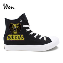 Wen Canvas Shoes Black Snake Naja Naja Atra Original Design White High Top Sneakers Female Male Casual Outdoor Shoes Plimsolls
