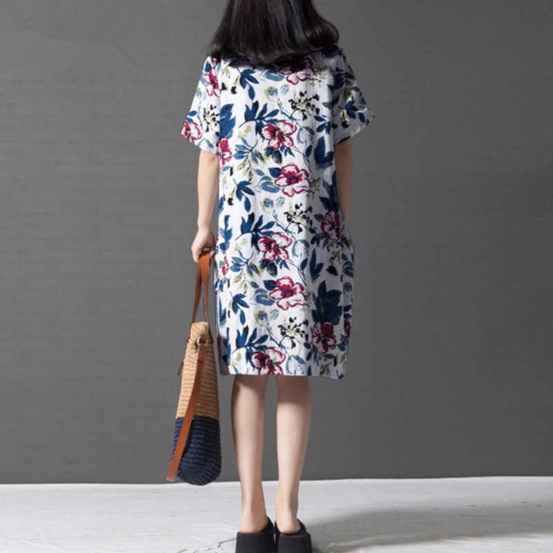 0e5a56a4747 ... Summer New Ladies Floral Print Dress 2018 Women Vintage Office Dress  casual Loose Dress Female Vestidos ...