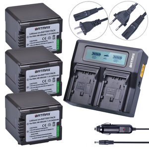 3Pcs VW-VBG260 VW VBG260 VW-VBG130 VW VBG130 Rechargeable Battery + Fast LCD Dual Charger for Panasonic HS250 SDR-SD7 HDC-MDH1(China)