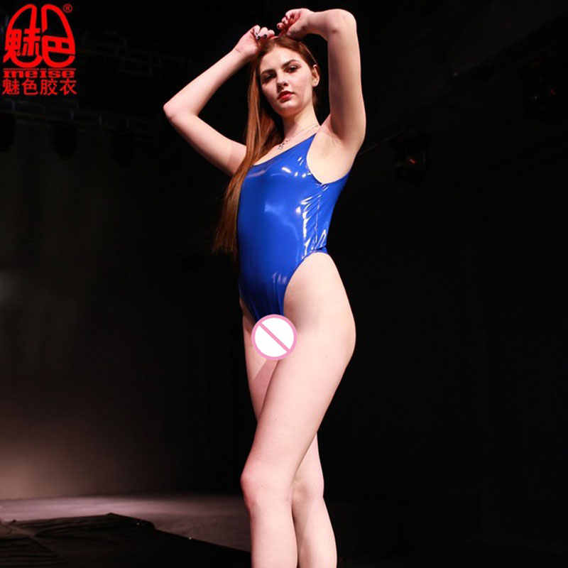 Seksi PVC Lateks Parlak Yüksek Kesim Bodysuit Seksi Tank Tops Catsuit Tek Parça Mayo Kulübü Sahne Giyim Erotik Iç Çamaşırı Artı boyutu F55