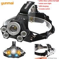 Yunmai Cree 5 LED Zoomable Headlight Blue Light Fishing Head Flashlight USB Rechargeable Powerful Headlamp Rotate