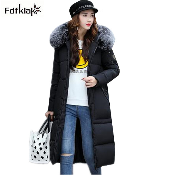 Fdfklak New winter jacket women thick warm long outerwear cotton-padded coat snow wear hooded fur collar winter parka women snow wear 2017 winter jacket women warm thick long hooded cotton padded parkas causal female big faux fur collar jacket coat