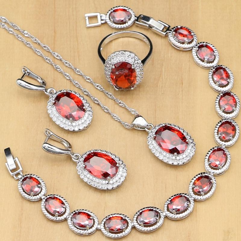 100% QualitäT 925 Sterling Silber Schmuck Set Red Zirkonia Weiß Kristall Für Frauen Hochzeit Ohrringe Ring Armband Dubai Halskette Set