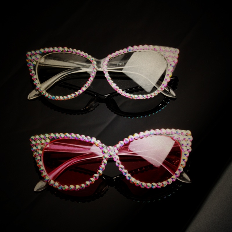 модные солнцезащитные очки женские 2017 сексуальные солнцезащитные очки с кошачьим глазом для дам с прозрачными линзами солнцезащитные очки люкс хрустальные солнцезащитные очки женские очки