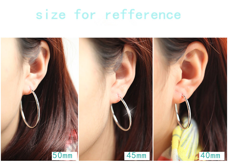 d25e88d40 SILVER 925 STERLING SILVER BIG HOOP EARRINGS OUT DIAMETER 4CM /40MM FOR  WOMEN GIRLS-in Hoop Earrings from Jewelry & Accessories on Aliexpress.com |  Alibaba ...
