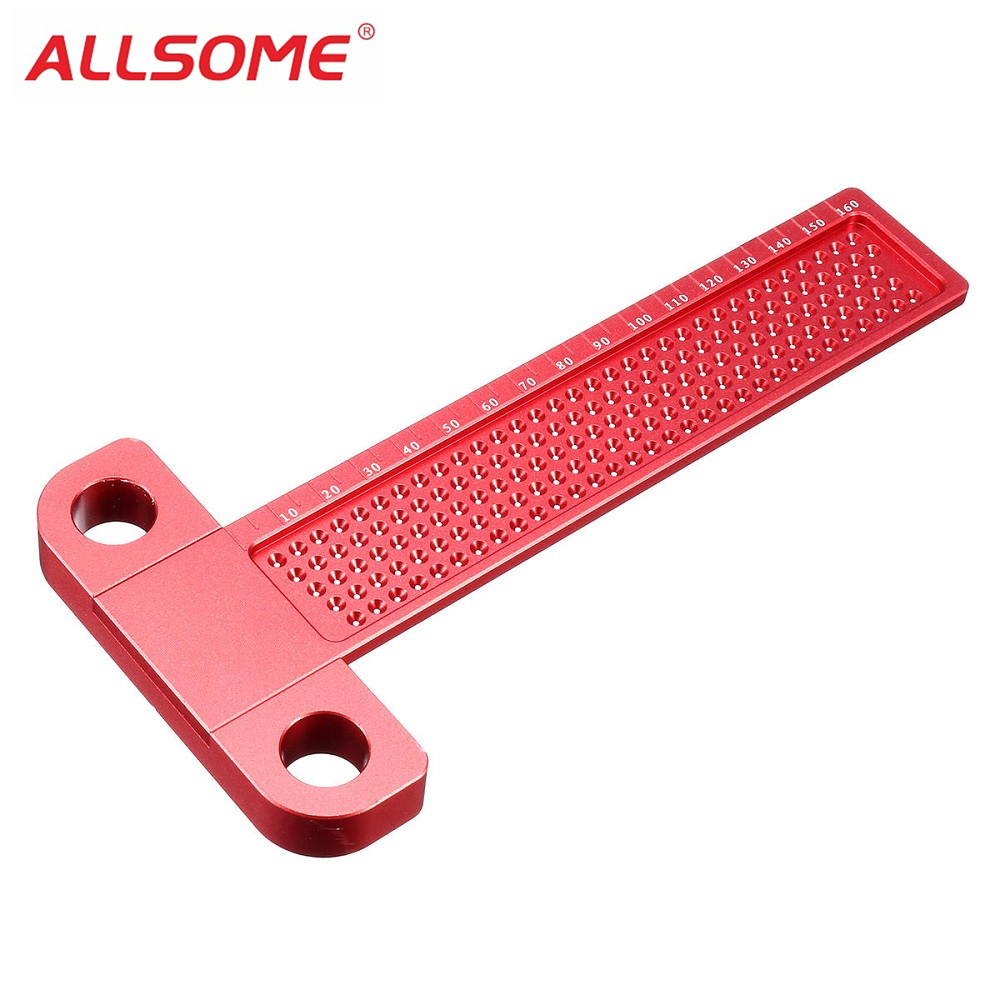 лучшая цена ALLSOME Woodworking Scriber T-type Ruler 160mm Hole Positioning Scribing Gauge Aluminum Alloy Crossed Feet Metric Measuring