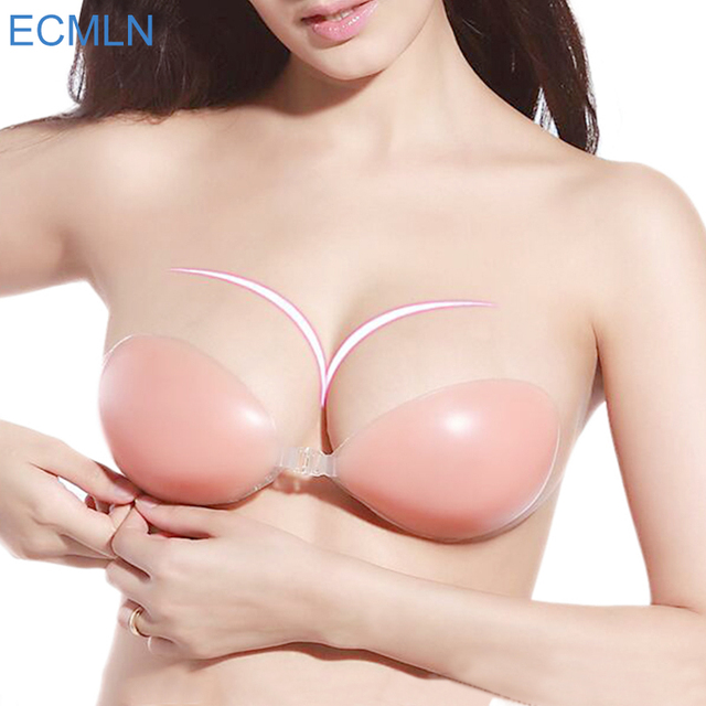 New Arrived Lady's Sexy Stealth Sticky Silicone Bra Adhesive Stick On Gel Push Up Stealth Strapless Backless Bra For Women#B