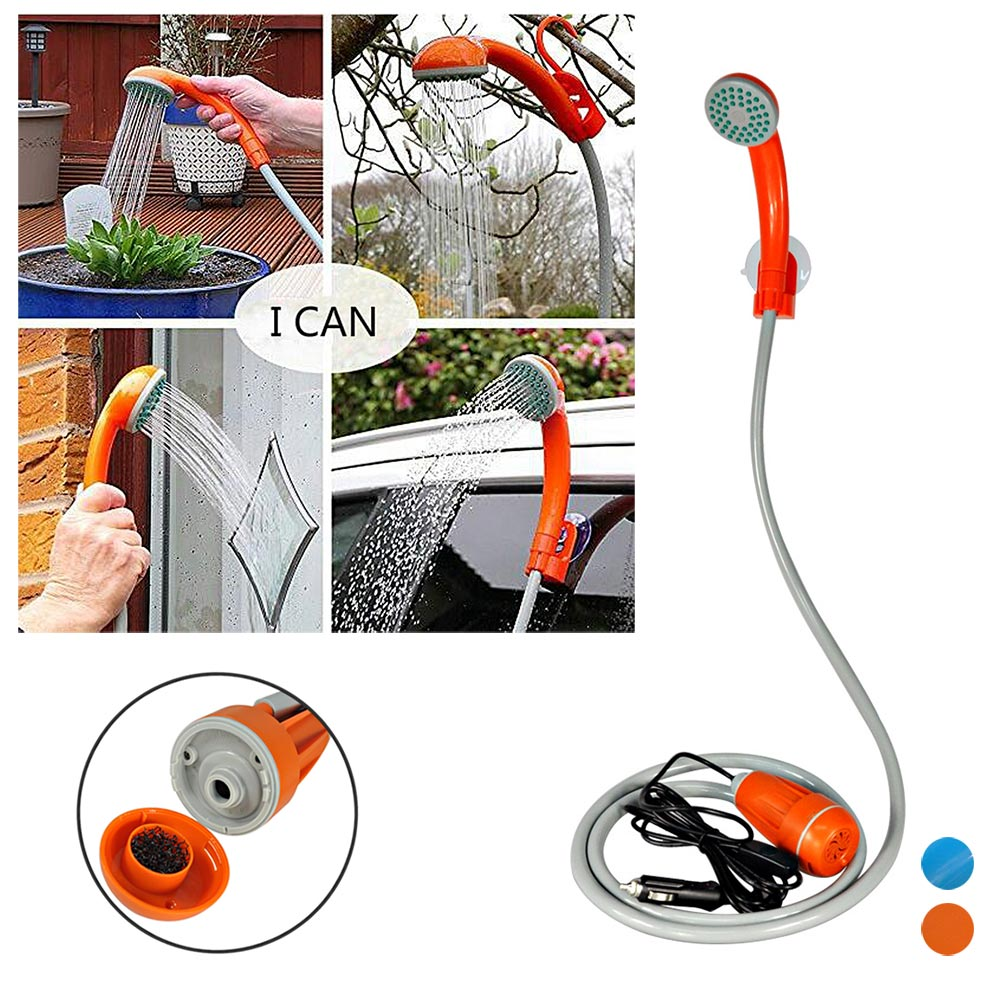 New Portable 12V Handheld Outdoor Shower With Water Pump For Travel Camping Car Washing Washer Garden Watering Pet Showers