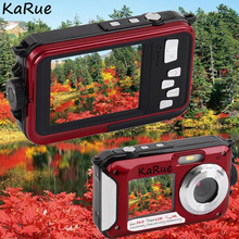 Wholesale prices karue  H268 1080P Waterproof Digital Camera Max 24MP  Double Screen 16x Zoom Camcorder 5MP COMS 2.7 Inch + 1.8 Inch S