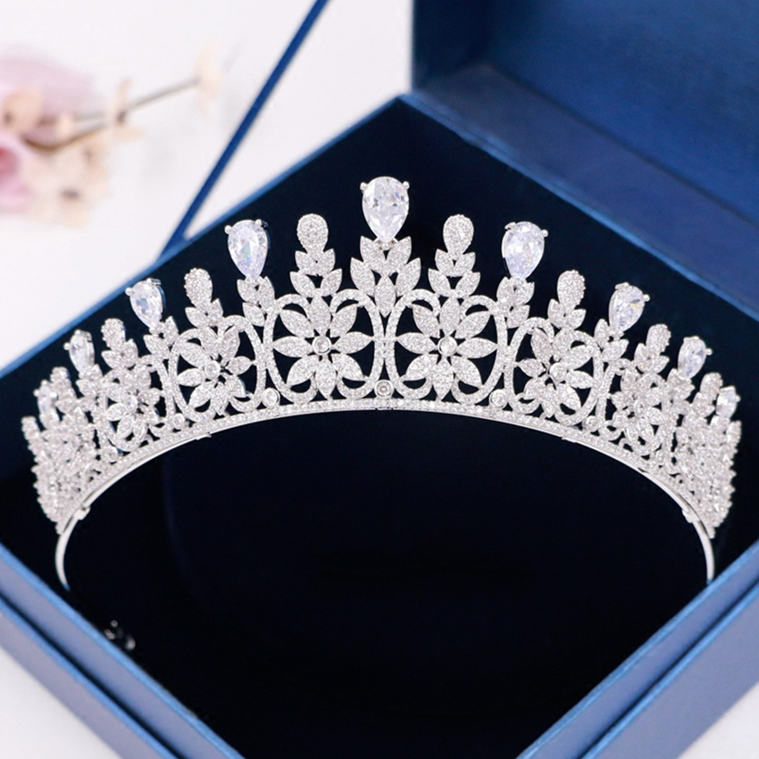 Luxury Vintage Setting Clear Cubic Zircon Wedding Tiara Baroque Vintage Prom Tiara CZ Bridal Pageant Royal Crown Women Jewelry