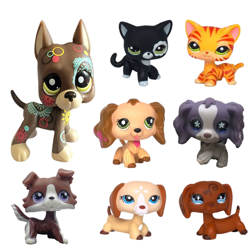 3pcs  littlest pet shop LPS figure Black Cat  /& orange tiger striped/& pink  Cat