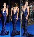 2014 Venta Caliente Con Cuello En V Sin Mangas Piso de longitud Satén Elástico Backless de La Sirena Azul Oscuro Vestidos de Noche de La Celebridad