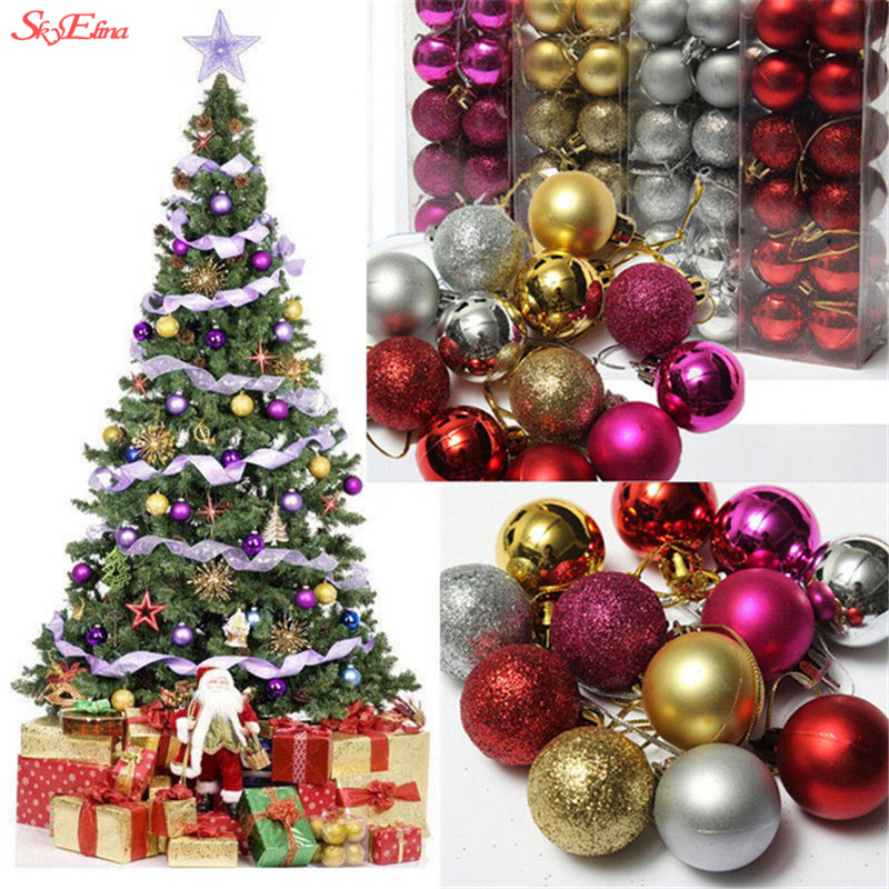 Festive & Party Supplies 24pcs/pack 3cm Christmas Tree Ornaments Multi-color Christmas Ball Plastic Gift Ball For Xmas Holiday Decoration 9z Hh181