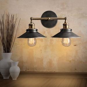 Image 4 - 現代ヴィンテージロフト金属ダブルヘッドウォールライトレトロ真鍮壁ランプカントリースタイル E27 エジソン燭台ランプ器具 110 ボルト/220 ボルト