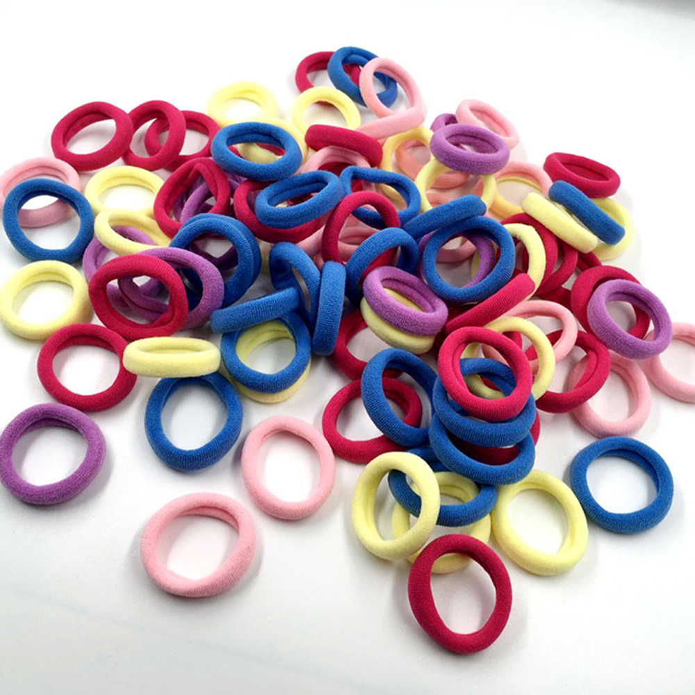 100pcs Hair Ring Rubber Band Ponytail Holder For Girls Elastic Ropes Headwear