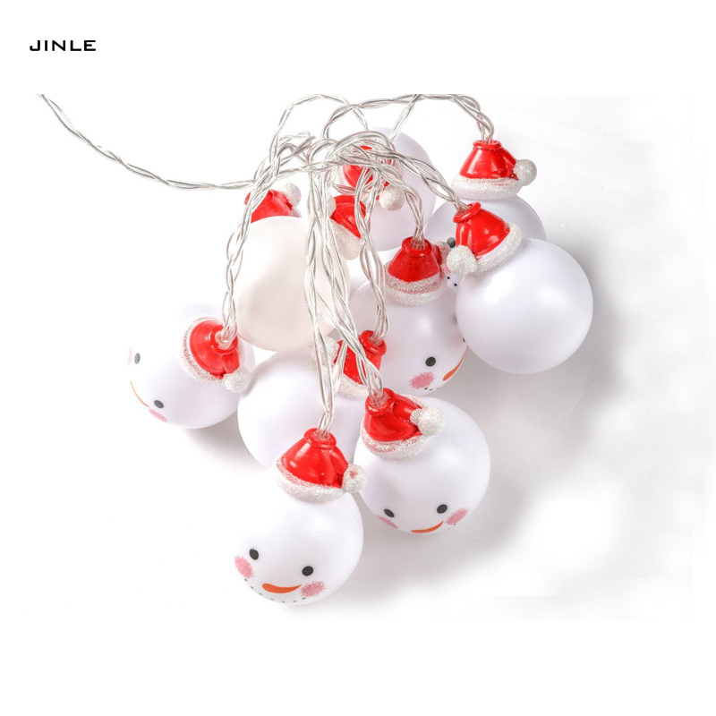 Led 2m 20 Head Snowman Smile Face Diameter 5cm Christmas Decoration Dry Battery Box String Lights Holiday Party Decorate Lamps