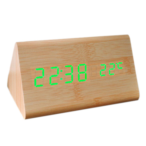 HGHO- Voice Control Calendar Thermometer e Wood Wooden LED Digital Alarm Clock USB/AAA Bamboo Wood Green LED