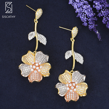 SISCATHY Luxury Full Micro Cubic Zirconia Earrings Paved Naija Wedding Party 3Tone Blossom Flower for Women Jewelry
