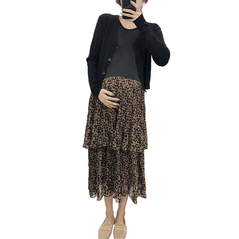 2019 New Maternity Knitted Cardigan+Chiffon Patchwork Leopard Cake Dress Sets Pregnant Women Pregnancy Casual Clothes Set Q8632019 New Maternity Knitted Cardigan+Chiffon Patchwork Leopard Cake Dress Sets Pregnant Women Pregnancy Casual Clothes Set Q863