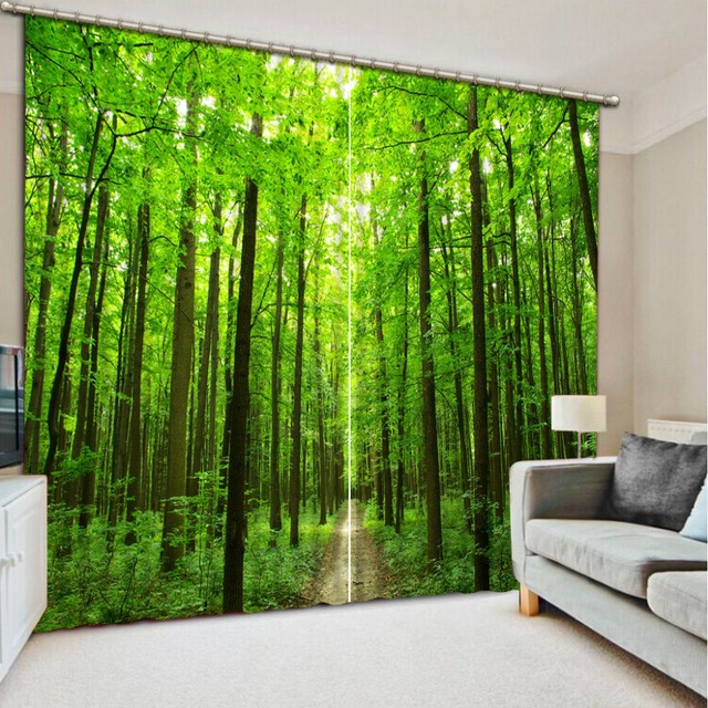 Natural Beautiful Green Nature Scenery Forest Curtain Home Decorative Decor 3d