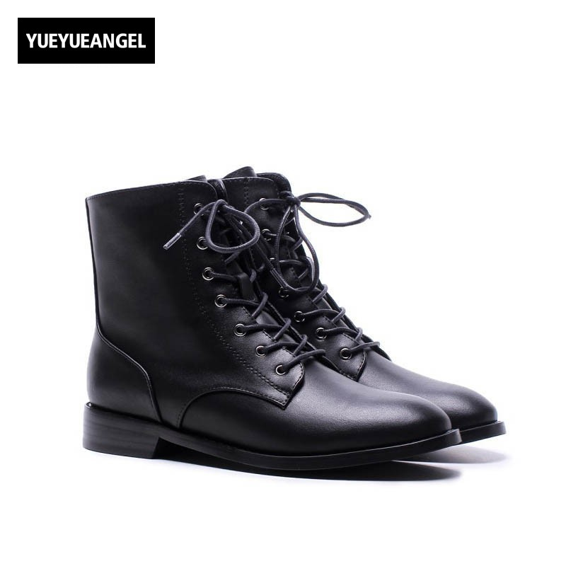 2018 New Top Brand Women Genuine Leather Ankle Boots Comfort Flats Black Rock Motorcycle Shoes Ladies Lace Up Punk Martin Boots women boots genuine leather lace up ladies shoes lace up grey black ankle boots light eva sole slip proof martin boots a1