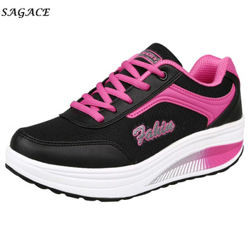 74e7195e6 CAGACE 2018 новые туфли Для женщин Повседневное сетки повышение Мягкая обувь  3 см Lace-up Mesh Для женщин, девушка Обувь для отдыха