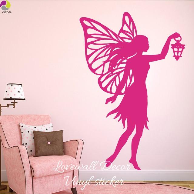 Lantern fairy laptop car wall sticker bedroom baby nursery little princess girl butterflies wall decal kids