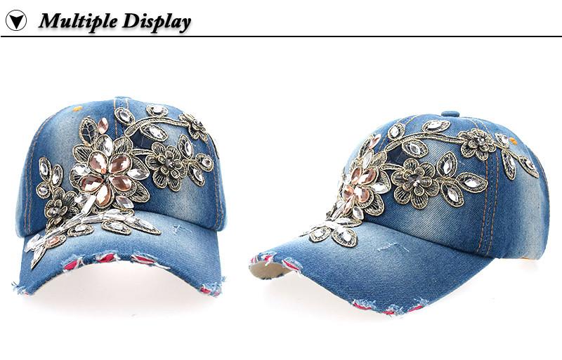 Rhinestone & Crystal Studded Baseball Cap - Front and Side Angle Views