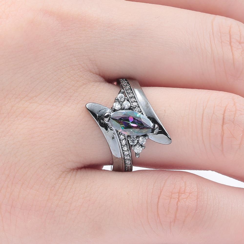 Black gun jewellery drop shipping royal blue purple rainbow crystal cz zircon jewelry women Engagement Rings us size 6 7 8 9 10